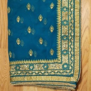 Teal Green Indian Saree Sari Pakistan Wear